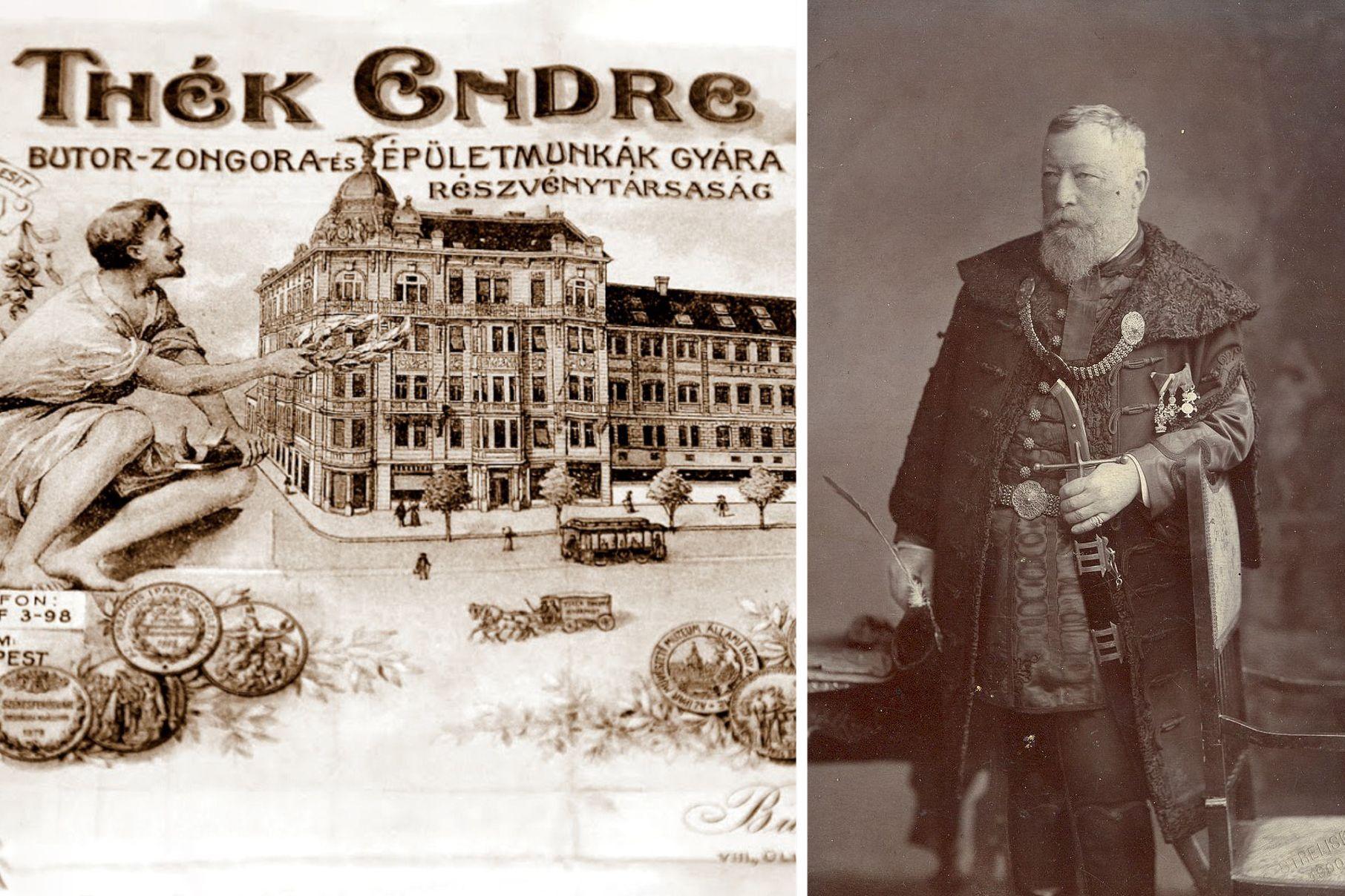 A Thék bútorgyár számlája  (b), Thék Endre (j) - Forrás: Wikipédia