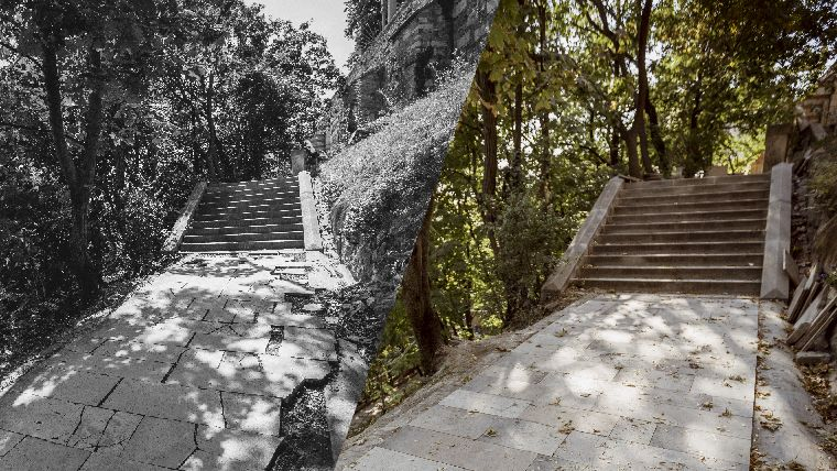 Az Ellyps sétány részlete a felújítás előtt és után