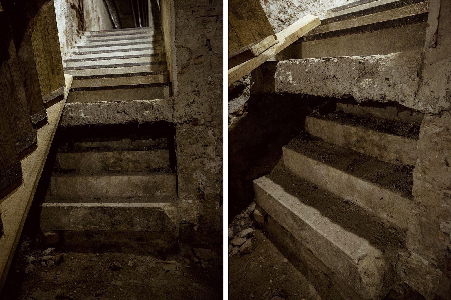 Alsó lépcsőfokából kiolvasható az eredeti pinceszint magassága